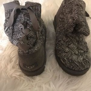 Grey knit tie up Ugg boots-Isla